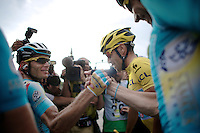 yellow jersey Vincenzo Nibali (ITA/Astana) has just won his very first Tour de France. Once across the finish line he is 'mobbed' by press but manages to reach his teammates to share the joy.<br /> <br /> 2014 Tour de France<br /> stage 21: Evry - Paris Champs-Elys&eacute;es (137km)