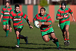 Sosefo Kata has Bayden Morey in support as he attacks through the midfield.  Counties Manukau Premier Club Rugby game between Waiuku & Ardmore Marist played at Waiuku on Saturday 20th June, 2009. Waiuku won the game 28 - 25.
