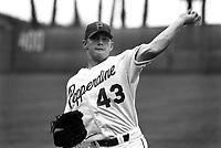 Randy Wolf of the Pepperdine Waves at Eddy D. Field Stadium in Malibu,California during the 1996 season. (Larry Goren/Four Seam Images)