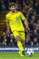Olexandr Shovkovskiy of Dynamo Kyiv during the UEFA Champions League Group match between Chelsea and Dynamo Kyiv at Stamford Bridge, London, England on 4 November 2015. Photo by David Horn.