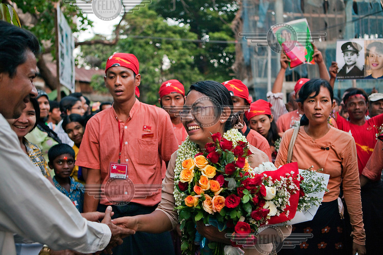 Phyu Phyu Thin, National League for Democracy (NLD) candidate campaigns ahead of by-elections in Yangon.