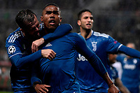 Douglas Costa of Juventus celebrates with Miralem Pjanic after scoring the winning goal of 1-2<br /> Moscow 06-11-2019 Stadion Lokomotiv <br /> Football Champions League 2019/2020 Group D  <br /> Lokomotiv Moscow - Juventus <br /> Photo Federico Tardito / Insidefoto