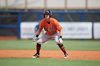 Baltimore Orioles Robert Neustrom (80) leads off first base during a Florida Instructional League game against the Tampa Bay Rays on October 1, 2018 at the Charlotte Sports Park in Port Charlotte, Florida.  (Mike Janes/Four Seam Images)