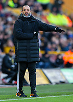 Wolverhampton Wanderers manager Nuno Espirito Santo shouts instructions to his team from the technical area <br /> <br /> Photographer Alex Dodd/CameraSport<br /> <br /> The Premier League - Wolverhampton Wanderers v Norwich City - Sunday 23rd February 2020 - Molineux - Wolverhampton<br /> <br /> World Copyright © 2020 CameraSport. All rights reserved. 43 Linden Ave. Countesthorpe. Leicester. England. LE8 5PG - Tel: +44 (0) 116 277 4147 - admin@camerasport.com - www.camerasport.com