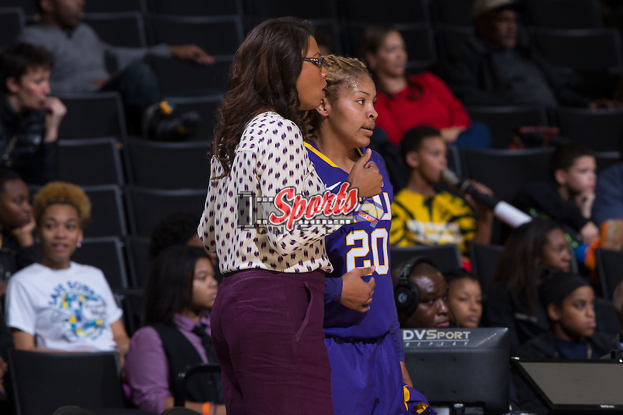 LSU Tigers head coach Nikki Fargas talks to Alexis Hyder (20) during first half action against the Wake Forest Demon Deacons at the LJVM Coliseum on November 13, 2015 in Winston-Salem, North Carolina.  The Demon Deacons defeated the Tigers 60-57.  (Brian Westerholt/Sports On Film)
