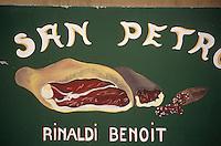 """Europe/France/Corse/2B/Haute-Corse/Cap Corse/Nebbio/Saint-Florent: Enseigne boutique de produits corses et charcuterie """"U San Petrone"""""""
