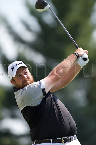 19.06.2016. Pittsburgh, PA,USA.    Shane Lowry of Ireland plays his shot from the tee during the final round of golf at the US Open at Oakmont Country Club in Pittsburgh, PA.