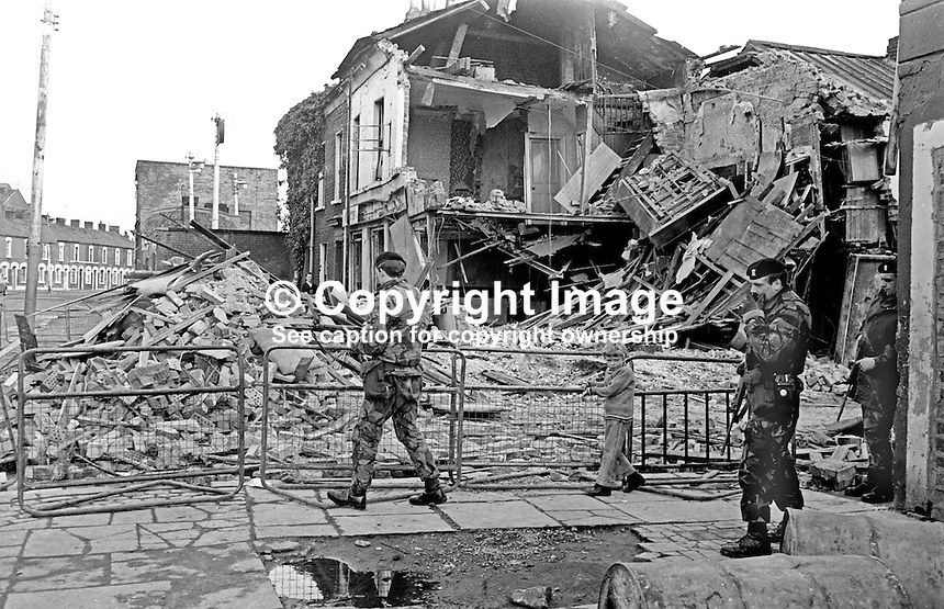 The morning after scene following a UVF bomb attack on the Strand Bar, Short Strand, Belfast, N Ireland, the previous evening, 12th April 1975, in which 5 died, 2 men and 3 woman. A sixth person, a man, died a week later from injuries. A UVF man was tried for the bombing but not convicted.  197504130335<br />