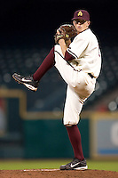 Arizona State's Mike Leake (8) wins up to deliver a pitch versus Texas A&M at the 2007 Houston College Classic at Minute Maid Park in Houston, TX, Friday, February 9, 2007.  Arizona State defeated Texas A&M 5-4.
