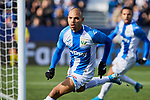 Martin Braithwaite of CD Leganes celebrates goal during La Liga match between CD Leganes and RCD Espanyol at Butarque Stadium in Leganes, Spain. December 22, 2019. (ALTERPHOTOS/A. Perez Meca)