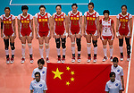 22 August 2010, Hong Kong, China ---  China players listen the national anthem before their volleyball game against USA on the last day of the FIVB World Grand Prix Pool G at the Hong Kong Coliseum stadium. Photo by Victor Fraile --- Image by © Victor Fraile