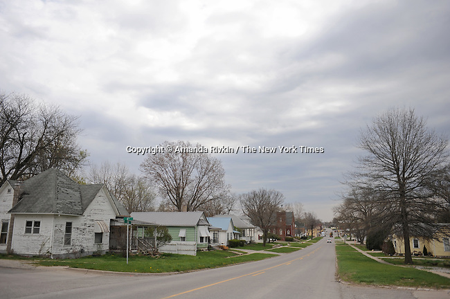 Elm Street, the main drag through Eldon, Iowa, population 1,200, is seen in Eldon, Iowa on April 23, 2009. Eldon is the hometown of the American Gothic house, about one and a half hour southwest of Iowa City.