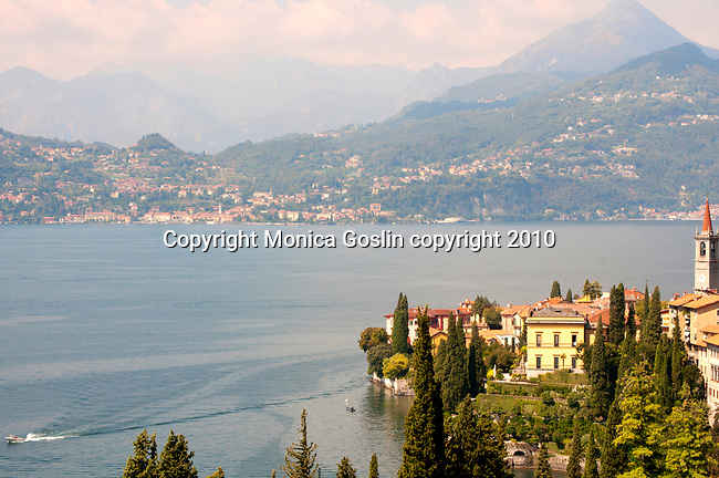 Varenna, Italy with Menaggio in the background; Lake Como