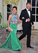 Actress Sandra Oh and Lev Rukhin arrive for the State Dinner in honor of Prime Minister Trudeau and Mrs. Sophie Gr&eacute;goire Trudeau of Canada at the White House in Washington, DC on Thursday, March 10, 2016.<br /> Credit: Ron Sachs / Pool via CNP