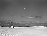 Moonset over White Sands.<br /> <br /> Mamiya RB67 Pro SD, 180mm lens, Kodak Tri-X film, red filter