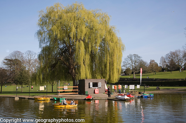 Boating lake in Castle Park, Colchester, Essex, England