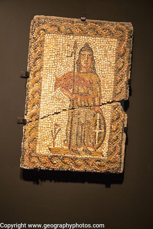 Roman mosaic figure, archaeology museum, Jerez de la Frontera, Cadiz Province, Spain