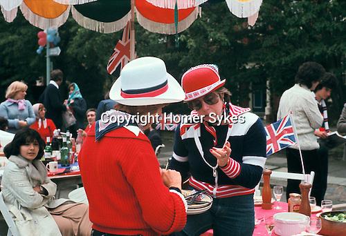 Silver Jubilee street party 1977. Hampstead north London UK.