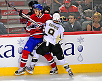3 February 2009: Montreal Canadiens' defenseman Ryan O'Byrne is checked into the boards by Pittsburgh Penguins left wing forward Pascal Dupuis during the first period at the Bell Centre in Montreal, Quebec, Canada. The Canadiens defeated the Penguins 4-2. ***** Editorial Sales Only ***** Mandatory Photo Credit: Ed Wolfstein Photo