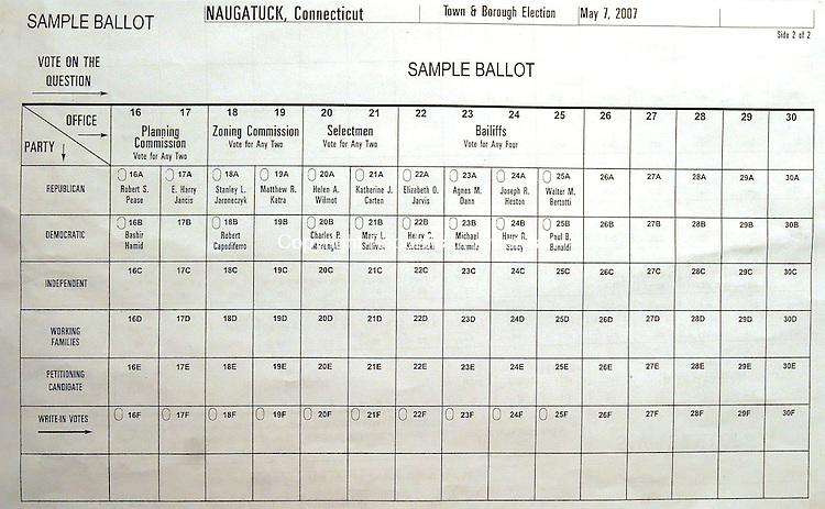 NAUGATUCK, CT 5/02/07- 050207BZ10- A sample ballot for the upcoming Naugatuck election.<br /> Jamison C. Bazinet Republican-American