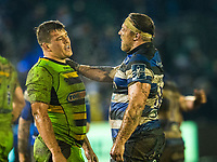 Northampton Saints' Charlie Clare and Bath Rugby's Henry Thomas talk after the final whistle<br /> <br /> Photographer Bob Bradford/CameraSport<br /> <br /> Anglo-Welsh Cup Semi Final - Bath Rugby v  Northampton Saints - Friday 9th March 2018 - The Recreation Ground - Bath<br /> <br /> World Copyright &copy; 2018 CameraSport. All rights reserved. 43 Linden Ave. Countesthorpe. Leicester. England. LE8 5PG - Tel: +44 (0) 116 277 4147 - admin@camerasport.com - www.camerasport.com