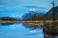 Vermilion Lake Reflection, Mt. Rundell, Banff National Park.