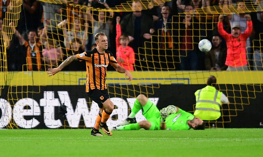 Hull City's Kamil Grosicki celebrates scoring his sides third goal <br /> <br /> Photographer Chris Vaughan/CameraSport<br /> <br /> The EFL Sky Bet Championship - Hull City v Bolton Wanderers - Friday 25th August 2017 - KCOM Stadium - Hull<br /> <br /> World Copyright &copy; 2017 CameraSport. All rights reserved. 43 Linden Ave. Countesthorpe. Leicester. England. LE8 5PG - Tel: +44 (0) 116 277 4147 - admin@camerasport.com - www.camerasport.com