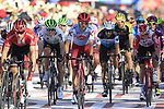 The peloton cross the finish line at the end of Stage 2 of La Vuelta 2019 running 199.6km from Benidorm to Calpe, Spain. 25th August 2019.<br /> Picture: Eoin Clarke | Cyclefile<br /> <br /> All photos usage must carry mandatory copyright credit (© Cyclefile | Eoin Clarke)