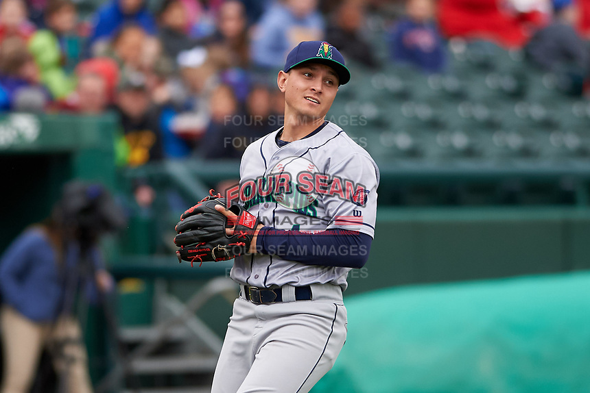 Cedar Rapids Kernels third baseman Andrew Bechtold (4) during a Midwest League game against the South Bend Cubs at Four Winds Field on May 8, 2019 in South Bend, Indiana. South Bend defeated Cedar Rapids 2-1. (Zachary Lucy/Four Seam Images)