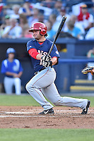 Hagerstown Suns third baseman Grant DeBruin (12) swings at a pitch during the South Atlantic League All Star Game on June 23, 2015 in Asheville, North Carolina. The North Division defeated the South 7-5(Tony Farlow/Four Seam Images)