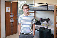 First-year profile: Julian Caspole '22, Pasadena, CA<br /> Incoming first-years and their families are welcomed by enthusiastic O-Team members and other members of the community during Occidental College's Fall move-in and orientation for the class of 2022, Aug. 23, 2018.<br /> (Photo by Marc Campos, Occidental College Photographer)