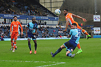 Blackpool's Jamille Matt can't quite get on the end of this freekick<br /> <br /> Photographer Kevin Barnes/CameraSport<br /> <br /> The EFL Sky Bet League Two - Wycombe Wanderers v Blackpool - Saturday 11th March 2017 - Adams Park - Wycombe<br /> <br /> World Copyright &copy; 2017 CameraSport. All rights reserved. 43 Linden Ave. Countesthorpe. Leicester. England. LE8 5PG - Tel: +44 (0) 116 277 4147 - admin@camerasport.com - www.camerasport.com