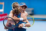 Zhang Shuai of China (R) and Samantha Stosur of Australia (L) celebrate after winning the doubles final match against Shuko Aoyama of Japan and Lidziya Marozava of Belarus during at the WTA Prudential Hong Kong Tennis Open 2018 at the Victoria Park Tennis Stadium on 14 October 2018 in Hong Kong, Hong Kong. Photo by Yu Chun Christopher Wong / Power Sport Images