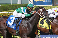 HALLANDALE BEACH, FL - JULY 01:  #3 Three Rules (FL)  wth jockey Cornelio Velasquez on board, wins the G3 Carry Back Stakes at Gulfstream Park on July 01, 2017 in Hallandale Beach, Florida. (Photo by Liz Lamont/Eclipse Sportswire/Getty Images)