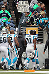 Seattle Seahawks  fan Rob Larsen heckles the Carolina Panthers as they head into the  locker room at CenturyLink Field in Seattle, Washington on October 18, 2015. The Panthers came from behind with 32 seconds remaining in the 4th Quarter to beat the Seahawks 27-23