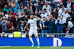 Karim Benzema of Real Madrid celebrates for scoring the team's first goal during the UEFA Champions League Semi-final 2nd leg match between Real Madrid and Bayern Munich at the Estadio Santiago Bernabeu on May 01 2018 in Madrid, Spain. Photo by Diego Souto / Power Sport Images