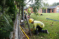 Crews restoring power during Hurricane Dorian in St. Augustine, Fla. on September 4, 2019