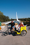 Pedicab at Sundial Bridge across Sacramento River in Redding in Northern California.Photo copyright Lee Foster.  Photo # california-sundial-bridge-cashas105015