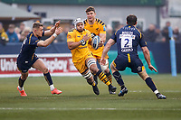 25th January 2020; Sixways Stadium, Worcester, Worcestershire, England; Premiership Rugby, Worcester Warriors versus Wasps; Nizaam Carr of Wasps carries the ball into a tackle from Matt Moulds (C) of Worcester Warriors