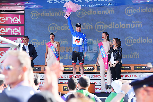 Jan Polanc (SLO) UAE Team Emitates retains the mountains  Maglia Azzura at the end of Stage 8 of the 100th edition of the Giro d'Italia 2017, running 189km from Molfetta to Peschici, Italy. 1th May 2017.<br /> Picture: LaPresse/Gian Mattia D'Alberto | Cyclefile<br /> <br /> <br /> All photos usage must carry mandatory copyright credit (&copy; Cyclefile | LaPresse/Gian Mattia D'Alberto)