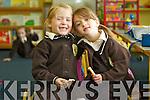 Maggie Ní Thoibín Spealain and Melody Ní Dhubhlainn, pictured on their first day of school at Gaelscoil Mhic Easmainn national school, Tralee on Friday.