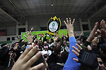 Fans and players of Palestinian basketball of Khadamat al-Burij club react after wining during a local competition at Saad Sayel Stadium, in Gaza City on January 17, 2019. Photo by Mahmoud Ajjour