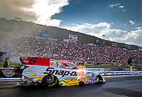 Jul. 18, 2014; Morrison, CO, USA; NHRA funny car driver Cruz Pedregon during qualifying for the Mile High Nationals at Bandimere Speedway. Mandatory Credit: Mark J. Rebilas-