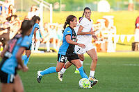 Kansas City, MO - Sunday September 11, 2016: Danielle Colaprico, Mandy Laddish during a regular season National Women's Soccer League (NWSL) match between FC Kansas City and the Chicago Red Stars at Swope Soccer Village.