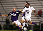 Duke's Zach Pope (16) avoids a tackle by Western Illinois's Luke Greenwell (17) on Tuesday, October 11th, 2005 at Duke University's Koskinen Stadium in Durham, North Carolina. The Duke University Blue Devils defeated the Western Illinois Leathernecks 2-0 during an NCAA Division I Men's Soccer game.