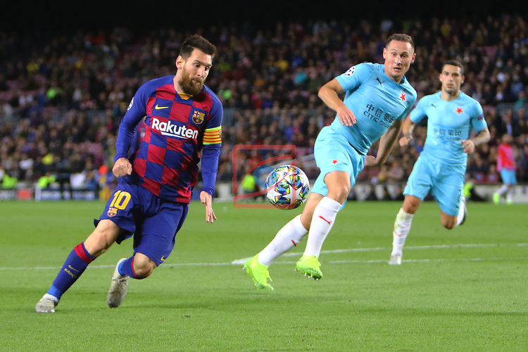 UEFA Champions League 2019/2020.<br /> Matchday 4.<br /> FC Barcelona vs SK Slavia Praha: 0-0.<br /> Lionel Messi vs Jan Boril.