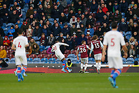 30th November 2019; Turf Moor, Burnley, Lanchashire, England; English Premier League Football, Burnley versus Crystal Palace;  Wilfried Zaha of Crystal Palace scores his side's first goal with a shot after 45 minutes to make the score 1-0