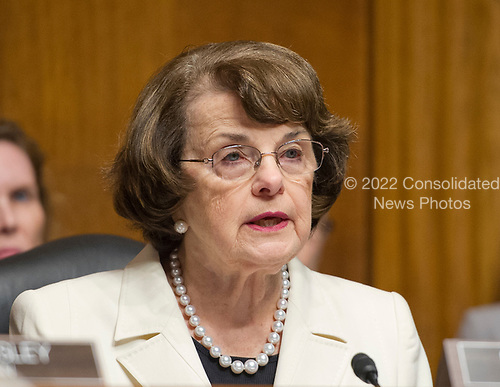 United States Senator Dianne (Democrat of California), Ranking Member, US Senate Committee on the Judiciary makes a statement on the President's firing of FBI Director James Comey on Capitol Hill in Washington, DC on Wednesday, May 10, 2017.<br /> Credit: Ron Sachs / CNP