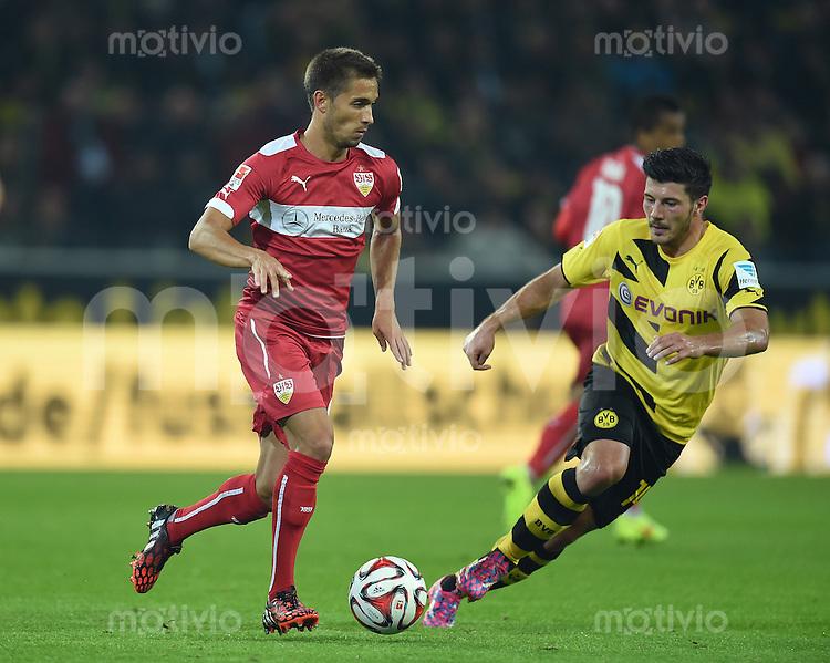 Fussball  1. Bundesliga  Saison 2014/2015   5. SPIELTAG Borussia Dortmund - VfB Stuttgart     24.09.2014 Moritz Leitner (li, VfB Stuttgart) gegen Milos Jojic (Borussia Dortmund)