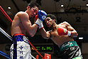 (L-R) Yusuke Nakagawa, Rikki Naito (JPN),<br /> APRIL 10, 2017 - Boxing :<br /> Rikki Naito of Japan hits Yusuke Nakagawa of Japan in the eighth round during the 8R lightweight bout at Korakuen Hall in Tokyo, Japan. (Photo by Hiroaki Yamaguchi/AFLO)